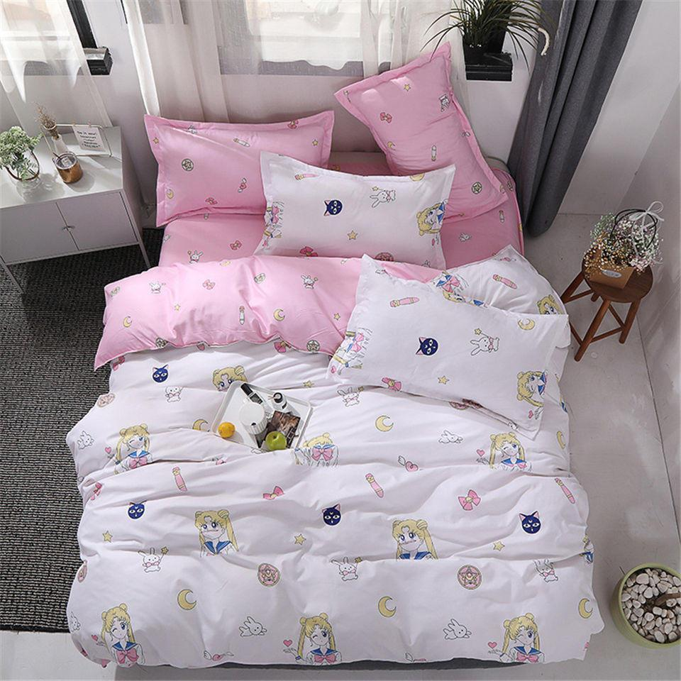 Sailor Moon Bed Covers Flat Sheets Bedding Sets Anime Pink Heart Blue Background Girls Dinosaur Quilt Cover Set Home