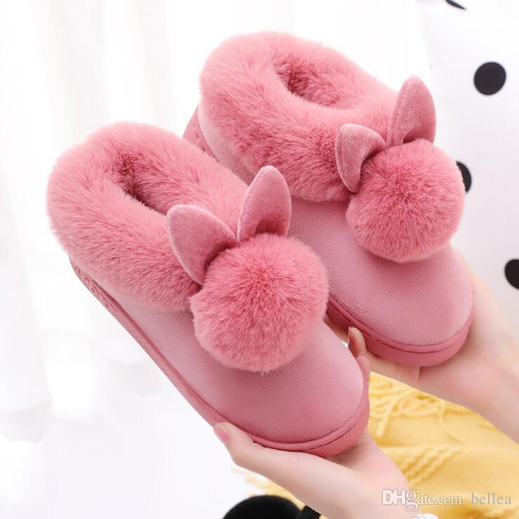 New Women Slippers Furry Rabbit Ears Plush velvet Snow Female Slipper Indoor Home Shoes Plus Size Ladies Soft Comfort Footwear