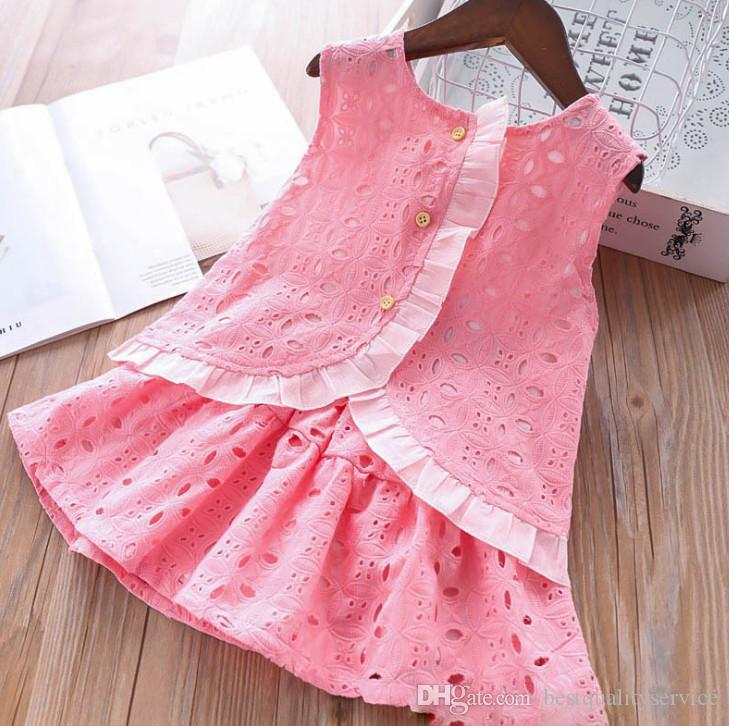 Summer Girls lace hollow flowers embroidery princess outfits kids ruffle single breasted vest tops+elastic waist lace skirt 2pcs sets