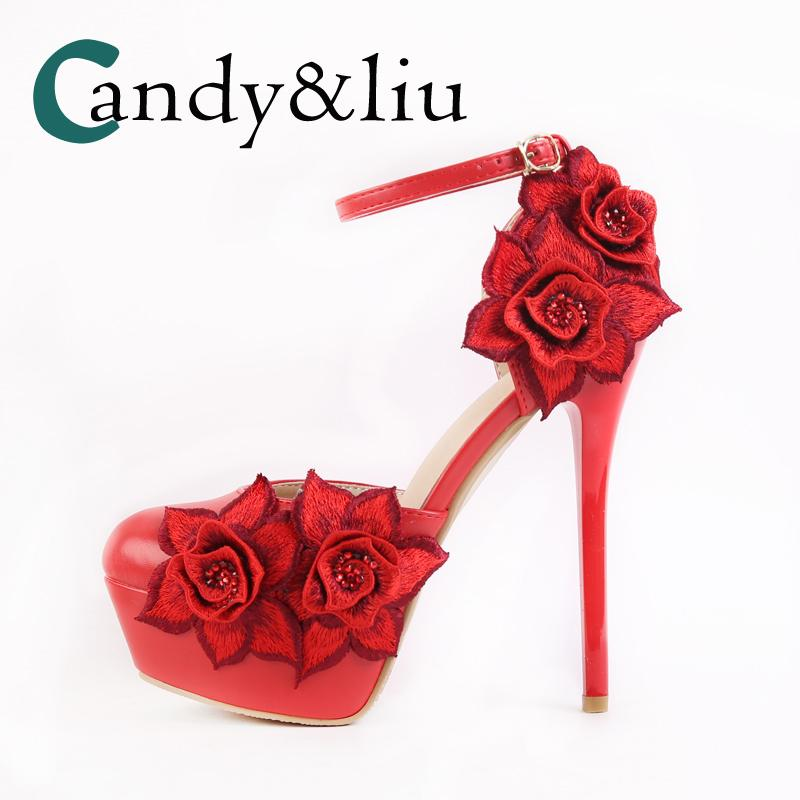 86df34850 Red Satin Rose Wedding Shoes Super High Heel Pumps For Bridal Party Evening  Dress Bridesmaid Banquet Sandals With Ankle Strap Ladies Sandals Girls  Sandals ...