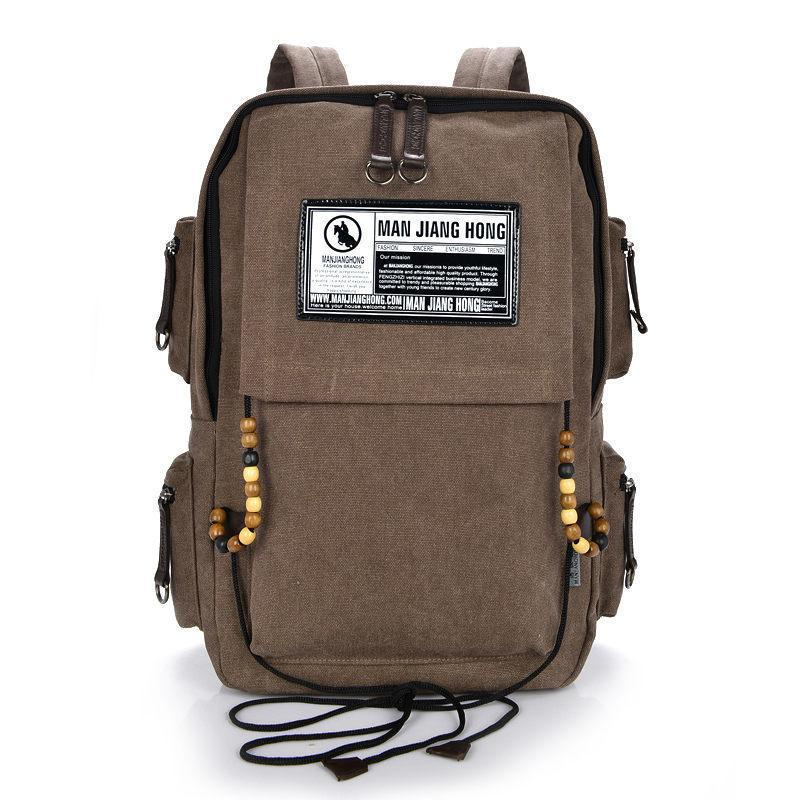 good quality 17new Fashion Zipper Solid Beadings Casual Bag Male Backpack Function School Bag Canvas Bag Designer Backpacks 1222