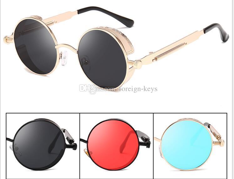 3504110c4c Compre 2019 Nueva Moda Retro Steampunk Gafas De Sol Redondas Para Hombres  Regalo Mujer Lente Roja Marco Metálico Gafas De Sol Redondas Accesorios  Steampunk.