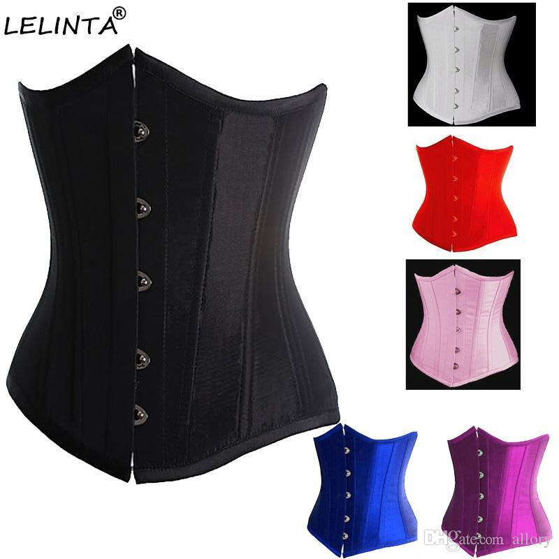 c75231467 2019 Black Satin Boned Waist Trainer Corsets And Bustiers Cincher Steampunk Wedding  Dress Underwear Sexy Lingerie For Women From Allory