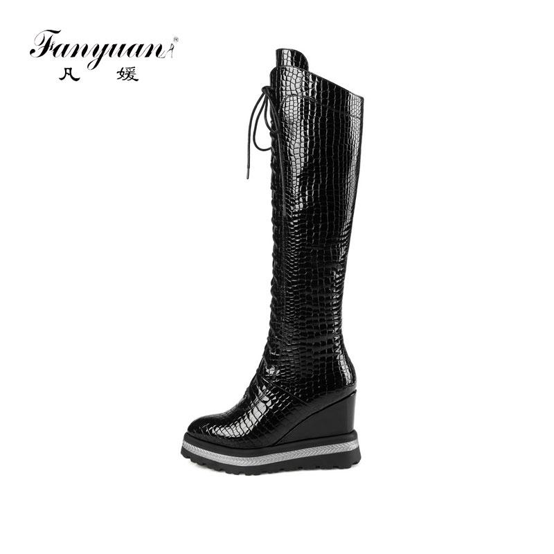 cb4b3f176012 FANYUAN 2019 Women Over The Knee High Boots Lace Up Wedges Heel Pointed Toe  Winter Shoes Women Motorcycle Boots Size 34 42 Boots Online Leather Boots  From ...