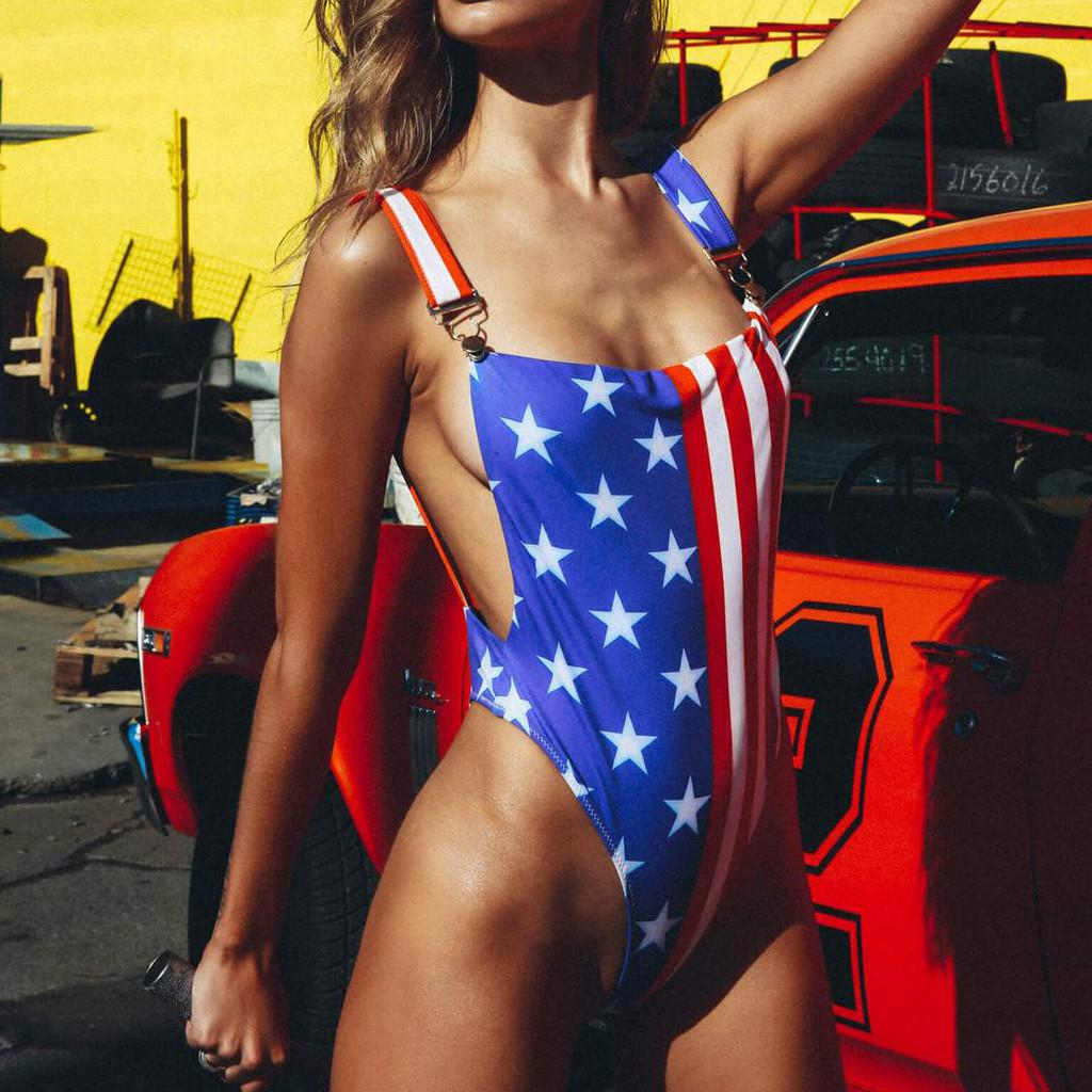 ISHOWTIENDA 2019 Independence Day Flag Print Women American Flag The fourth of July Two Pieces Bikini Swimwear Beachwear #4