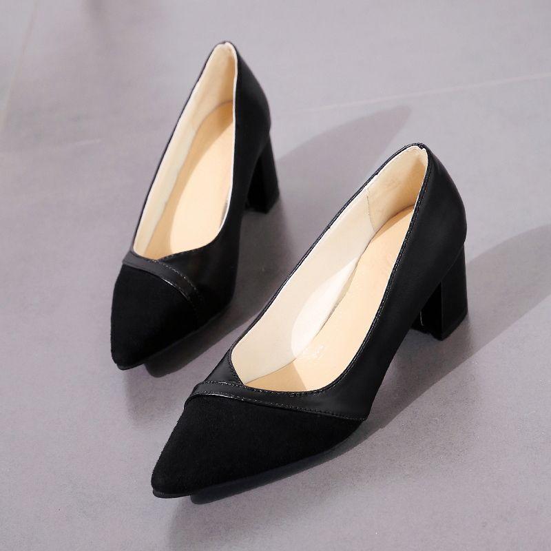 12474f9942ad6 Dicke high heels schuhe frauen pumps spitz arbeitsschuhe slip on high heels  frühling schuhe q00054