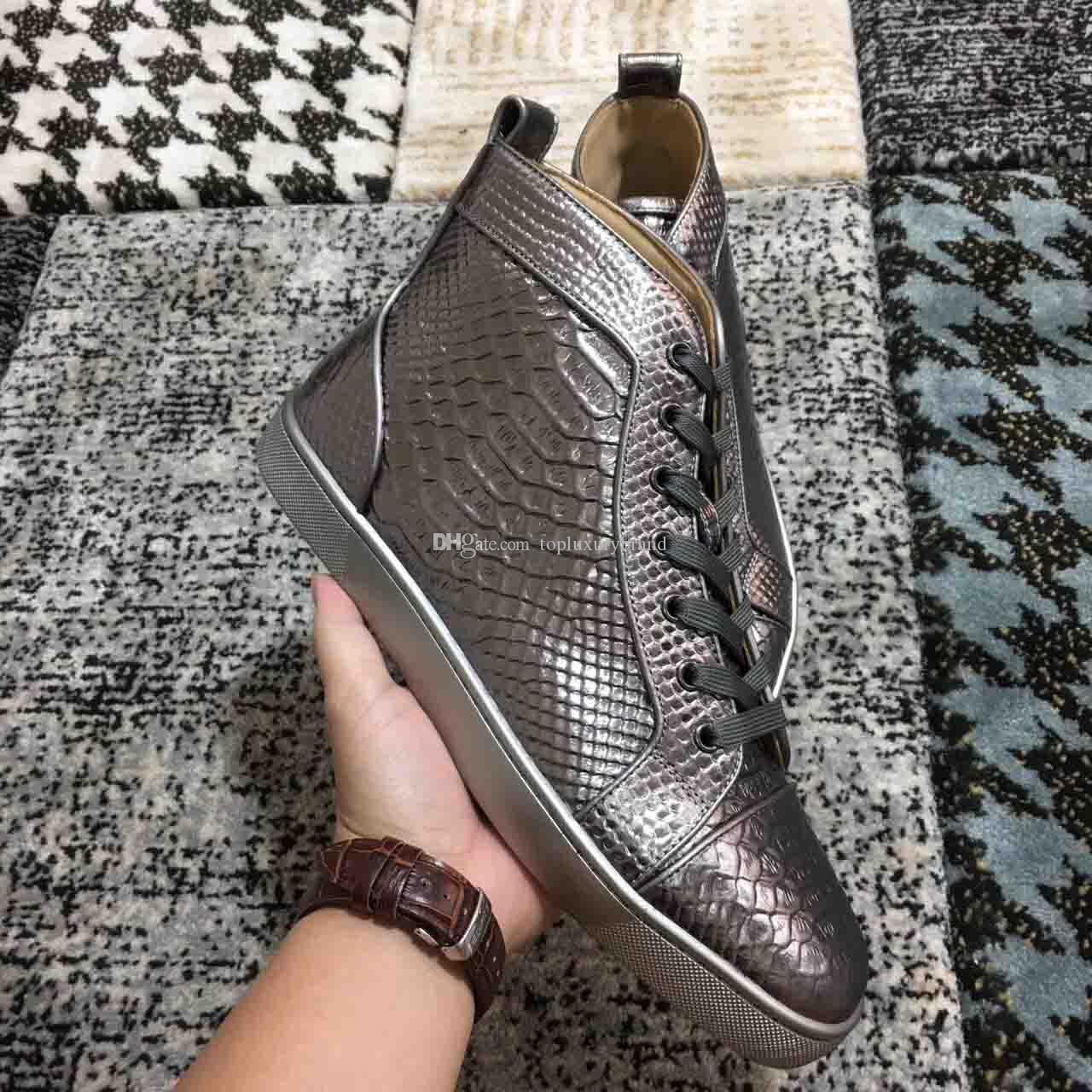 Best Quality crocodile Genuine Leather Men's Sneakers Red Bottom Women Men High Top Luxurious Casual Flat Designer Party Dress Walking Shoes