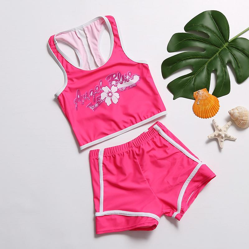 e19c9f81c8 Kids Girls Swimwear Vest And Trunks Two Pieces Swimsuit Sleeveless Kinder  Children Sport Beach Wear Bathing Suits 2018 Children Two-Piece Suits Cheap  ...