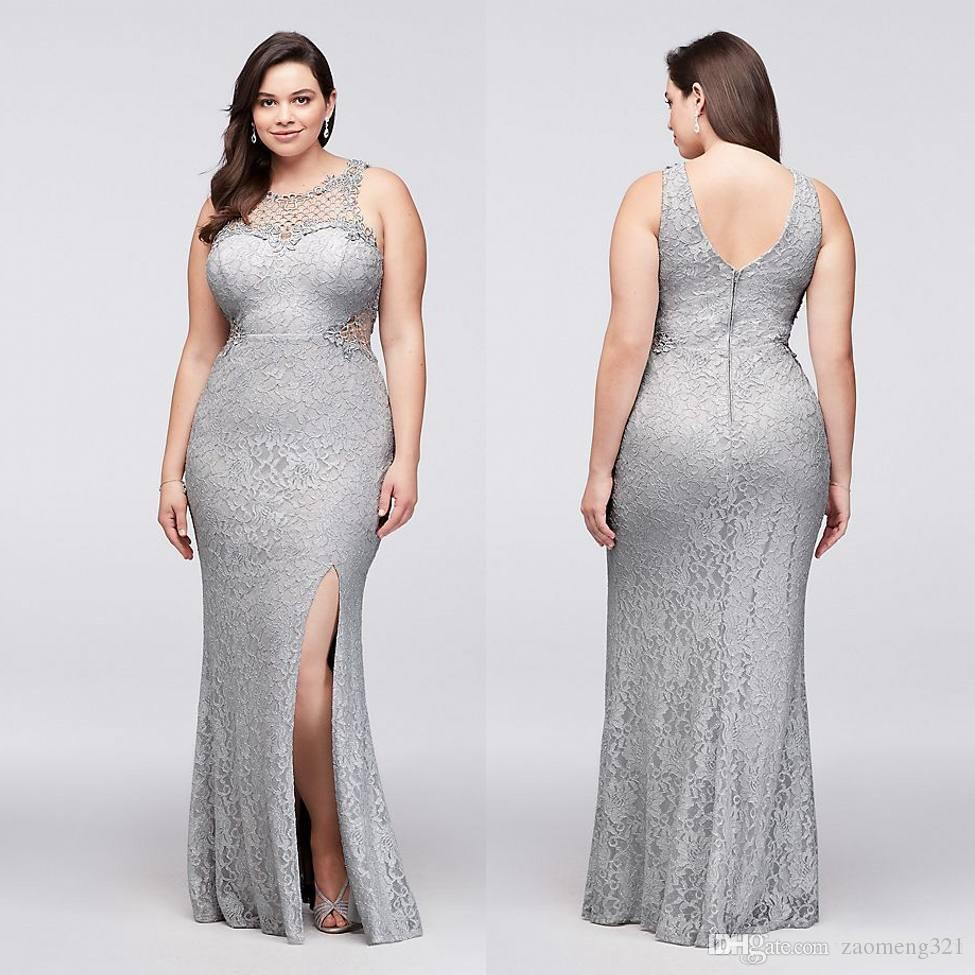 Silver Plus Size Lace Formal Dresses Sheer Jewel Neck Mermaid Split Side  Evening Gowns Cheap Floor Length Prom Dress