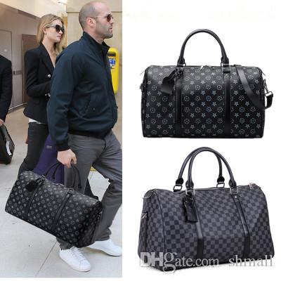 Classic Plaids Poker Pattern Travel Duffle Bag Business City Commuter Sport Outing Bag Premium PU Designed Men Pack