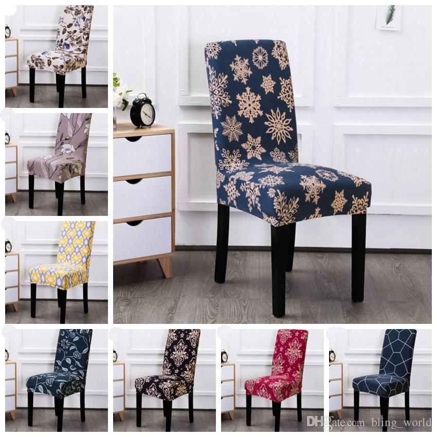 Christmas Chair Covers Elastic Dining Seat Cover Removable Slipcovers Banquet Wedding Dinner Restaurant Decor Snowflake 24 Designs YW1832 Cheap