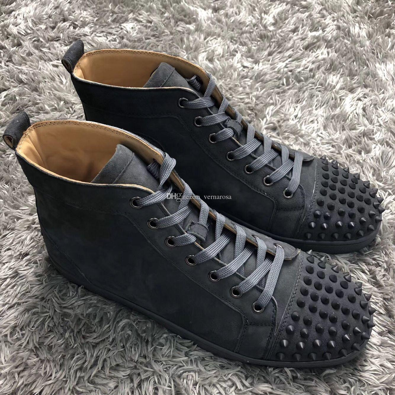 734d9fca High Top Spikes Red Bottom Sneaker Shoes For Men,Women Sport Luxe Designer Red  Sole Casual High Quality Grey Suede Leather Outdoor Walking Summer Shoes  Best ...