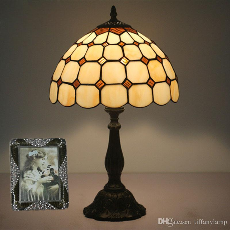 2019 12 Inch Glass Art Table Lamp European Style Stained Glass Desk ...