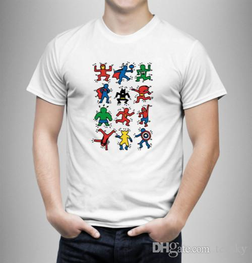 Keith Haring Hero Character Funny T-Shirt White Wholesale Regular 100% Cotton T Shirt Men Man's Homme Short Sleeve Crewneck Cotton Big Size