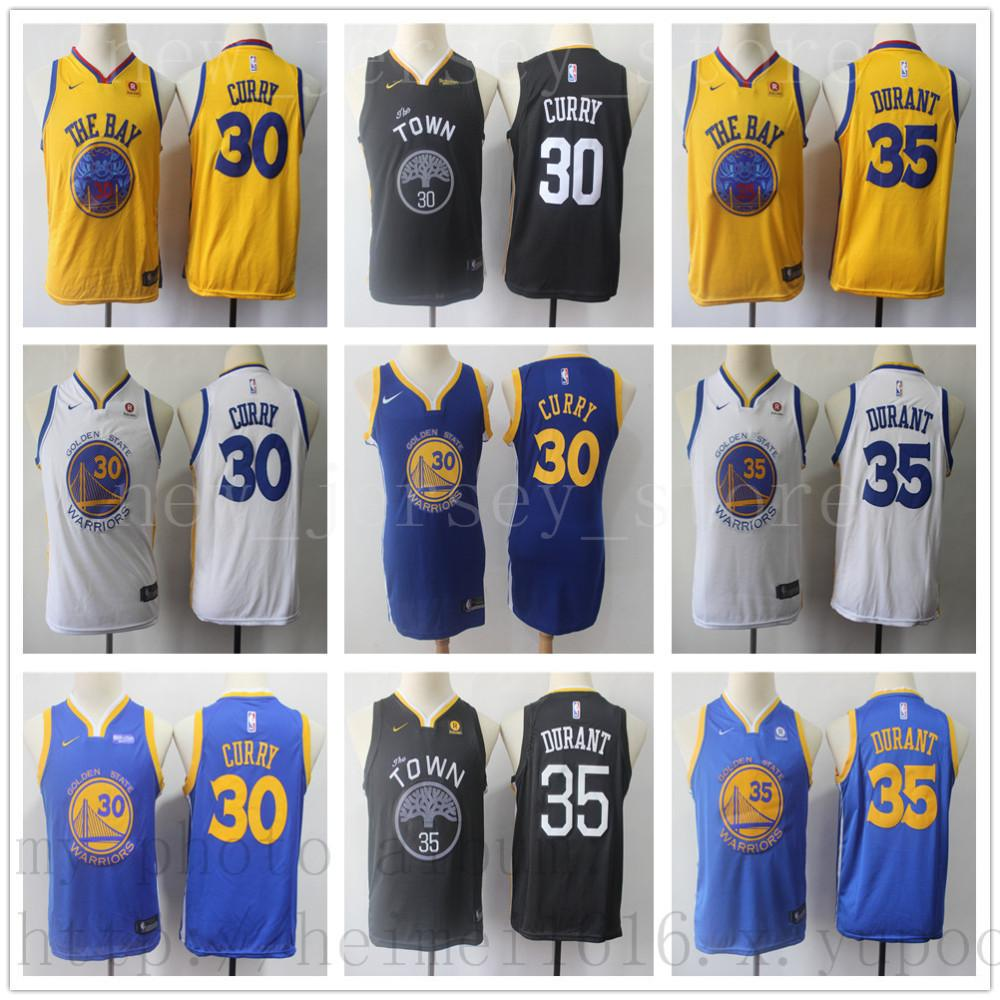 on sale d1ec5 53ac7 Men Youth Kids Women Warriors #35 Kevin Jersey The Town Black Durant Home  Road Stephen Blue White 30 Curry Basketball Jerseys
