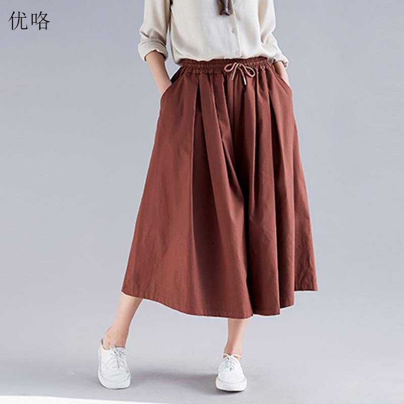c152e7f1d36 2019 2019 Summer Fashion Women Wide Leg Pants Plus Size Cotton Linen  Elastic Waist Pantalones Casual Loose Big Size Solid Color Pants From  Xianfeiyu