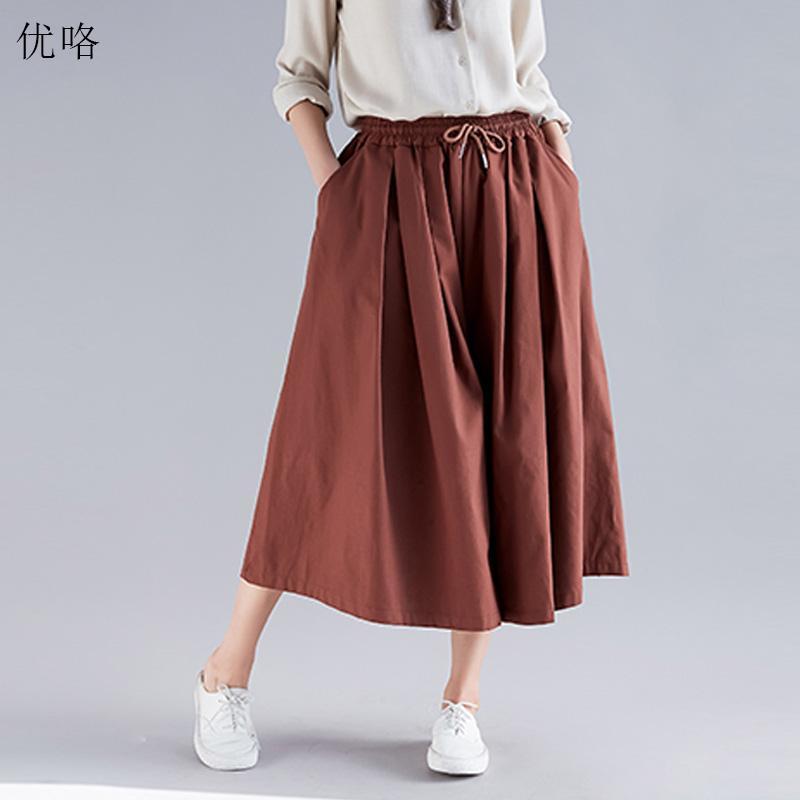 2395ae1dada53f 2019 été mode femmes pantalons à jambes larges, plus la taille coton lin  toile taille élastique Pantalones Casual lâche grande taille pantalon de ...