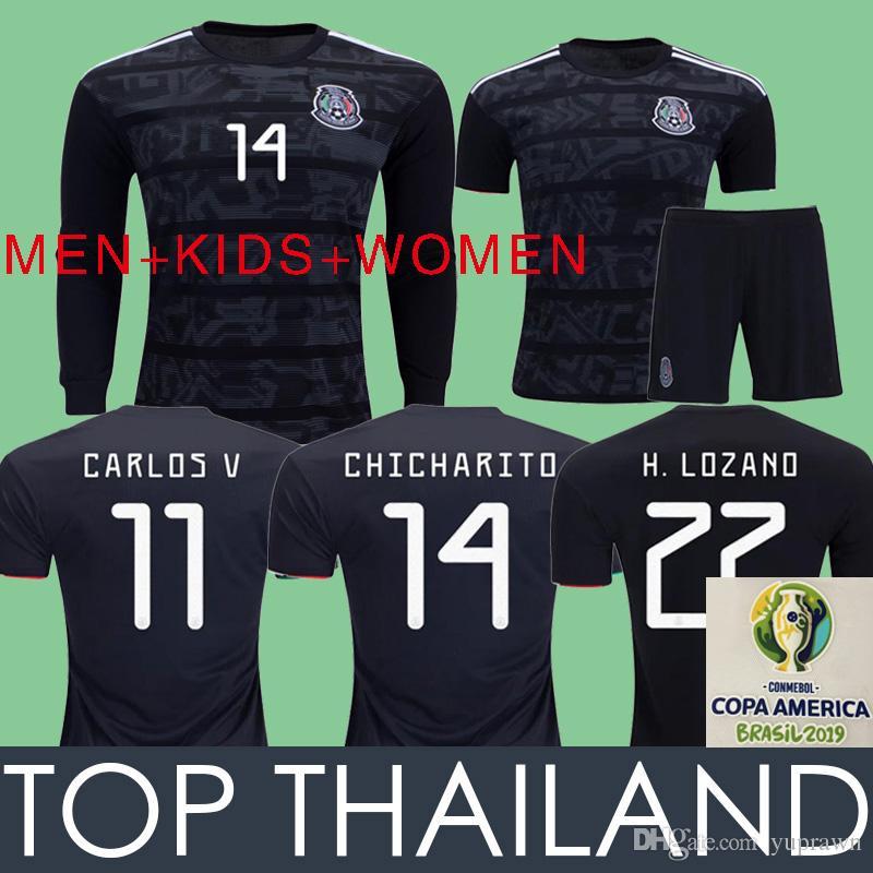 104cd372e GOLD CUP Mexico Soccer Jersey Football Shirts 2019 COPA DE ORO Camisetas De  Fútbol De México Camisa De Fútbol LOZANO CHICHARITO 19 20 Negro Mujeres  Niños ...