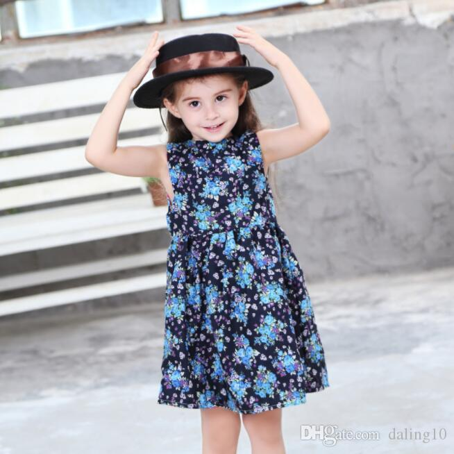 New Girls Longuette cotton Broken flowers Dress Dresses Girl Prom Dresses Summer Princess Dress best quality 4-20 lw56