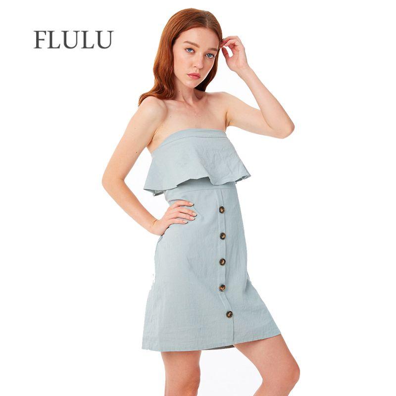 fc6131007a8 2019 FLULU Casual Summer Dress Women 2018 Vintage Solid Sexy Off Shoulder  Sleeveless Dress Slim Female Elegant Beach Party Dresses From Zhusa