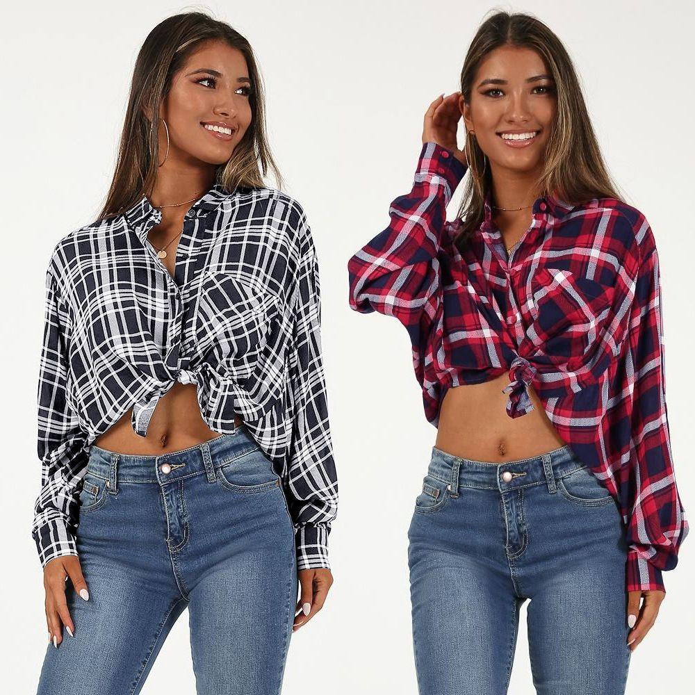 2019 Womens Casual Cuffed Long Sleeve Boyfriend Button Down Plaid Flannel  Shirt Tops 2 Colour Select SizeS XL From Jiehan clothes e63907d7fa