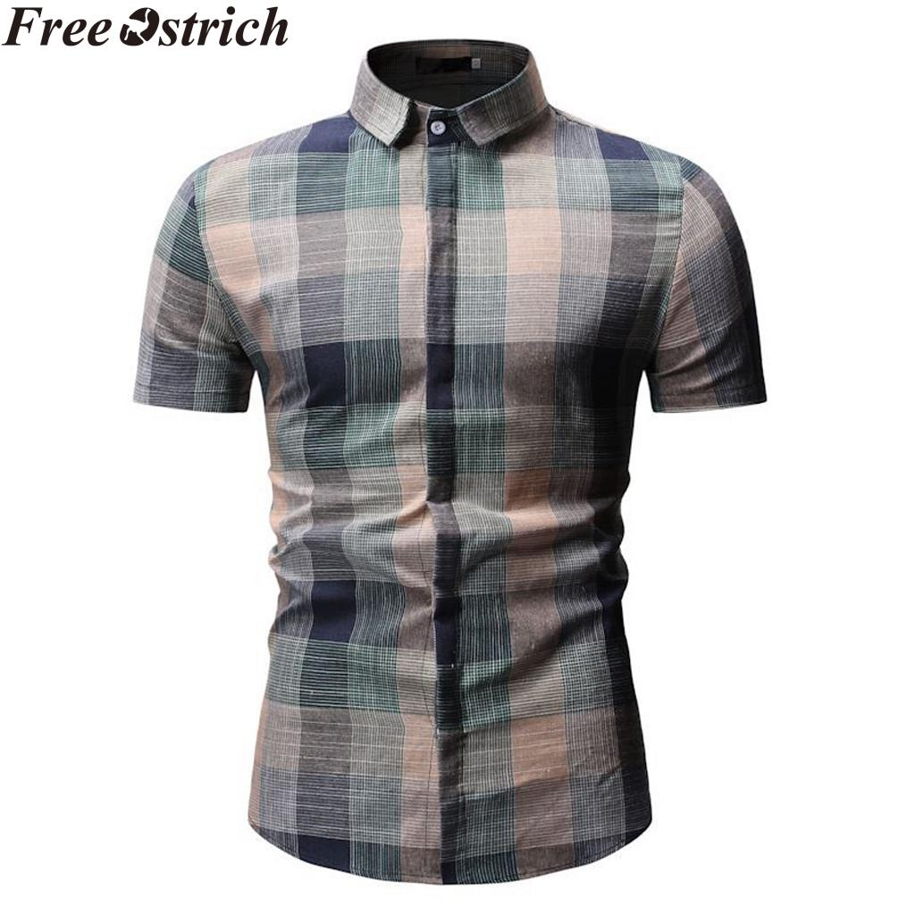 Summer Men's Shirt Short Sleeve Plaid Gradient Fashion New arrive Lapel Casual Tops Business Social Plus Size Men Pocket Shirt