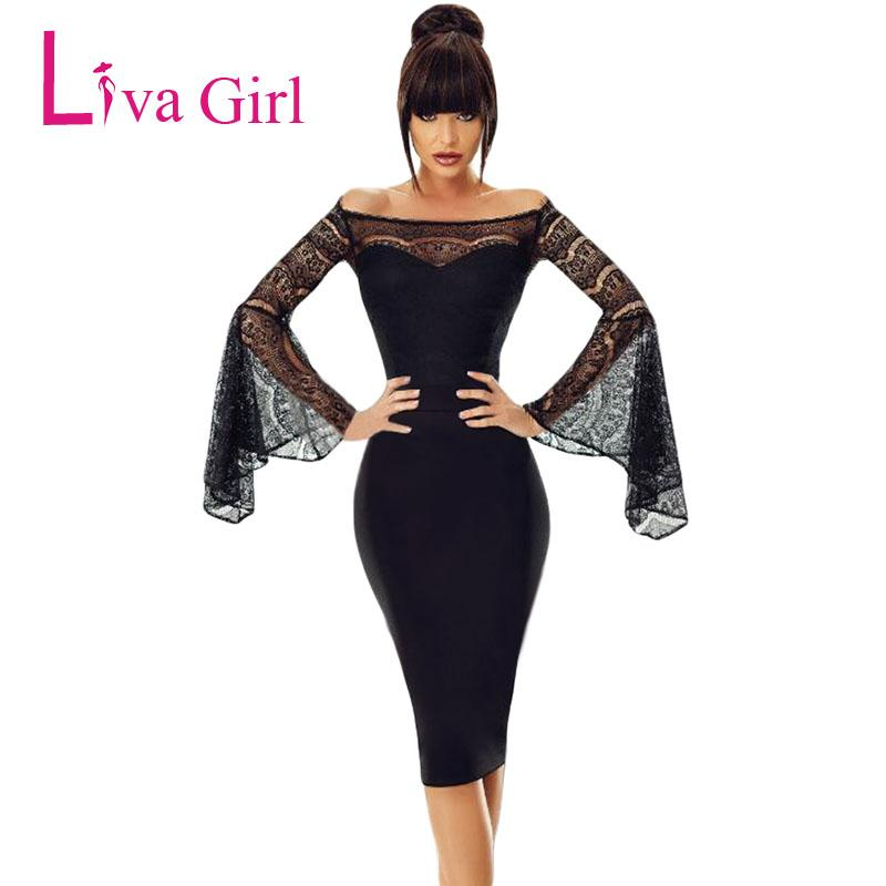 2afc0976ac4e LIVA GIRL Sexy Sheer Lace Long Bell Sleeve Party Dress Elegant Women Off  Shoulder Evening Bodycon Midi Dresses Formal Robe Femme Casual White Summer  Dresses ...