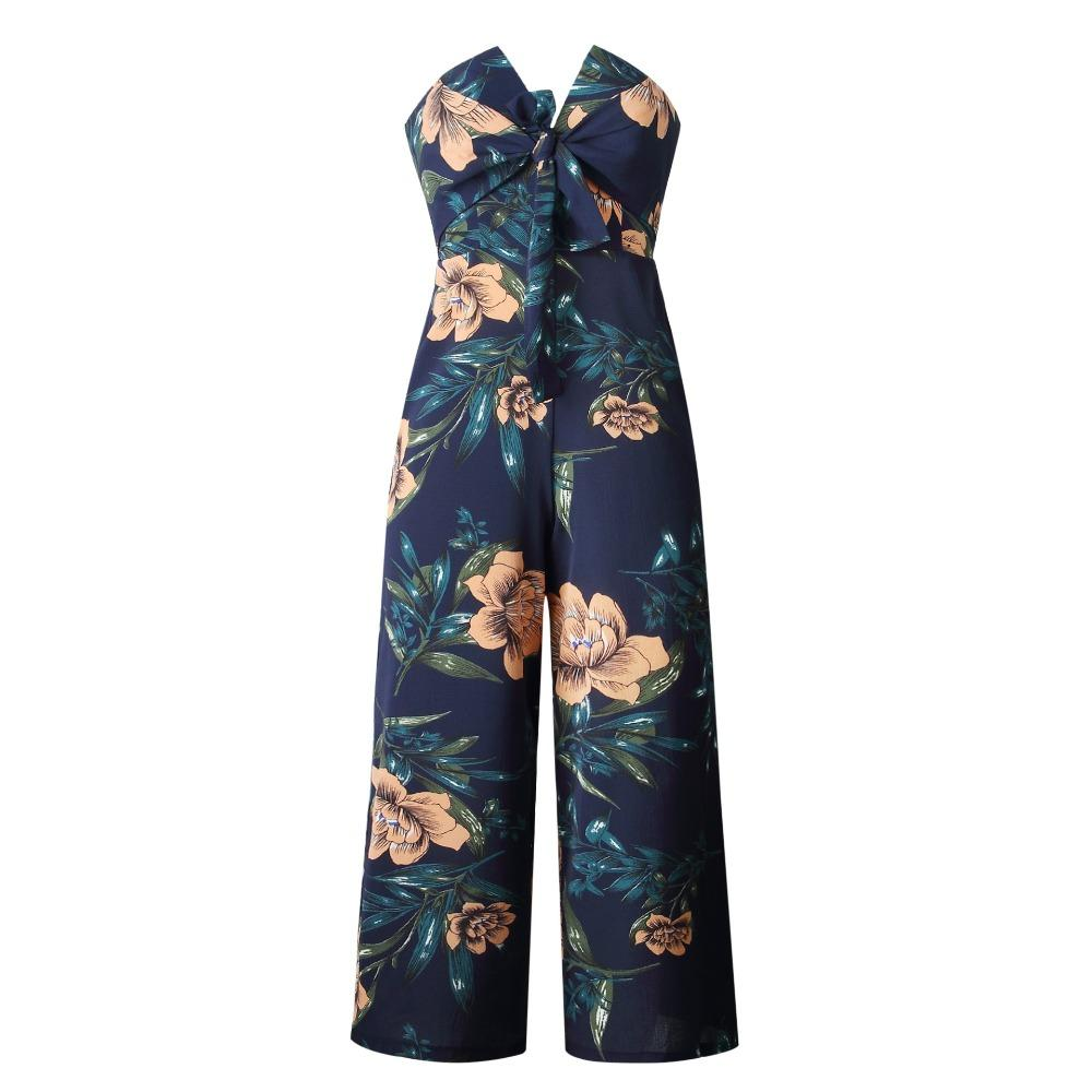 7cddef8d6b 2019 Strapless Off Shoulder Rompers Womens Jumpsuit Plus Size Summer Casual Floral  Print One Piece Wide Leg Jumpsuits Overalls 101000 From Meinuo003