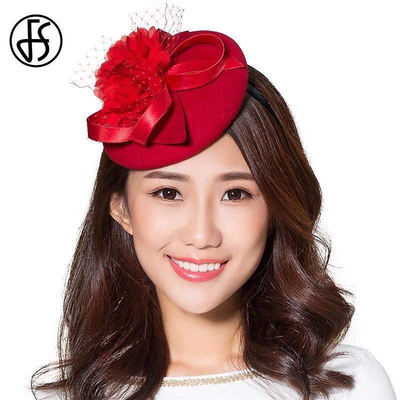 ec7946824d3 2019 FS Ladies Red Hats 100% Wool Fedora Fascinator For Wedding Party Hats  Winter Elegant Floral Vintage Net Yarn Felt Fedoras From Value333, ...