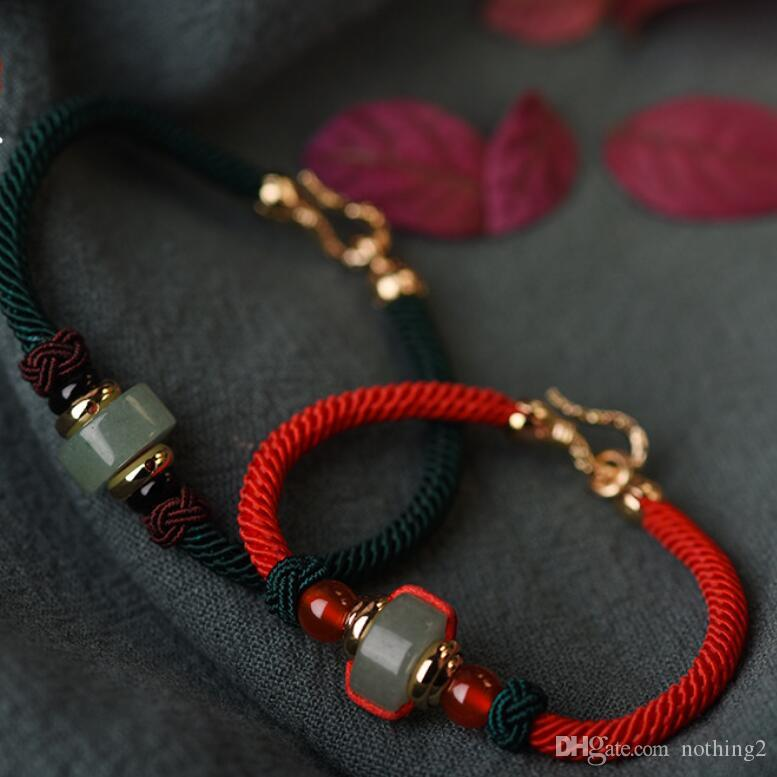 designer jewelry chinese knot couple bracelets red string jade beaded bracelets for couples wholesale hot fashion