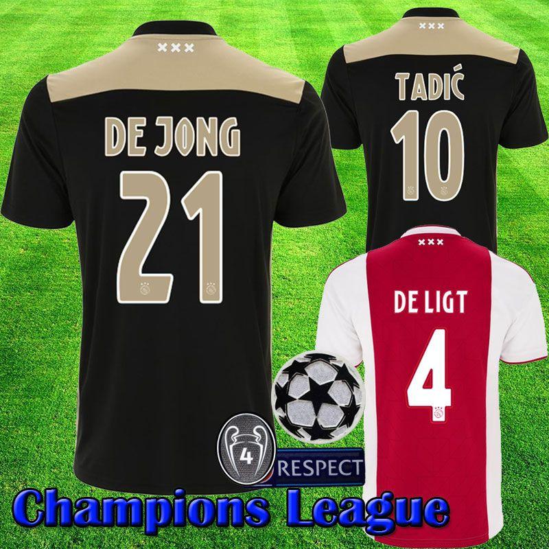 3c72599db 2019 Champions League 2018 2019 AJAX DE JONG Soccer Jersey DE LIGT DOLBERG  ZIYECH TADIC Ajax Fc 4 Cups Jerseys 18 19 Football Kit Shirt From  Popjerseystore