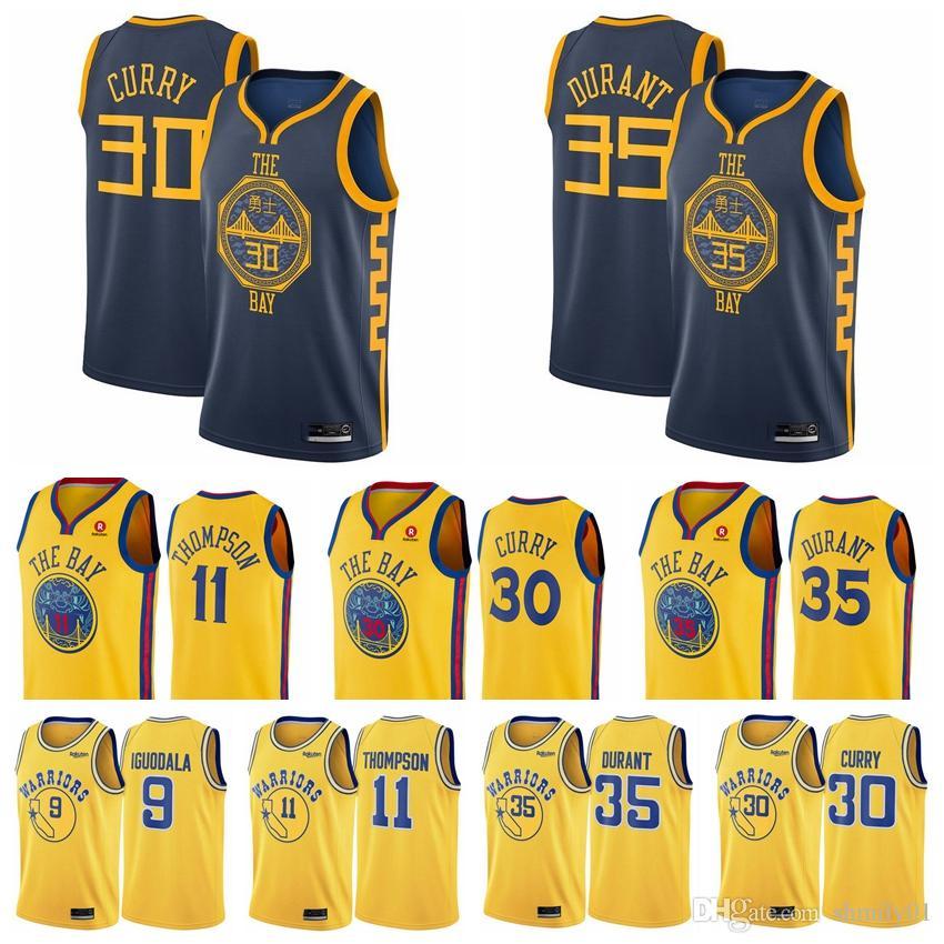 official photos 50955 481d4 2018-2019 Golden State Men's Warriors jersey Swingman Basketball Jersey 30  Stephen Currys 35 Kevin Durants