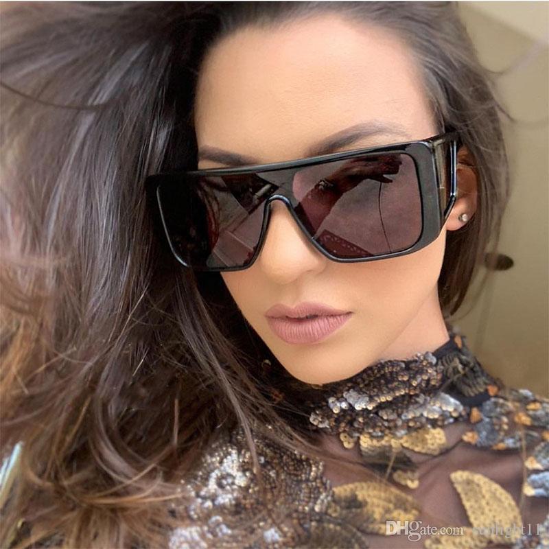 92485710fc Huge Oversized Sunglasses Women Sun New Fashion Square Flat Top Sun Glasses  For Men Mirror Shadow Shield Glasses UV400 Victoria Beckham Sunglasses ...