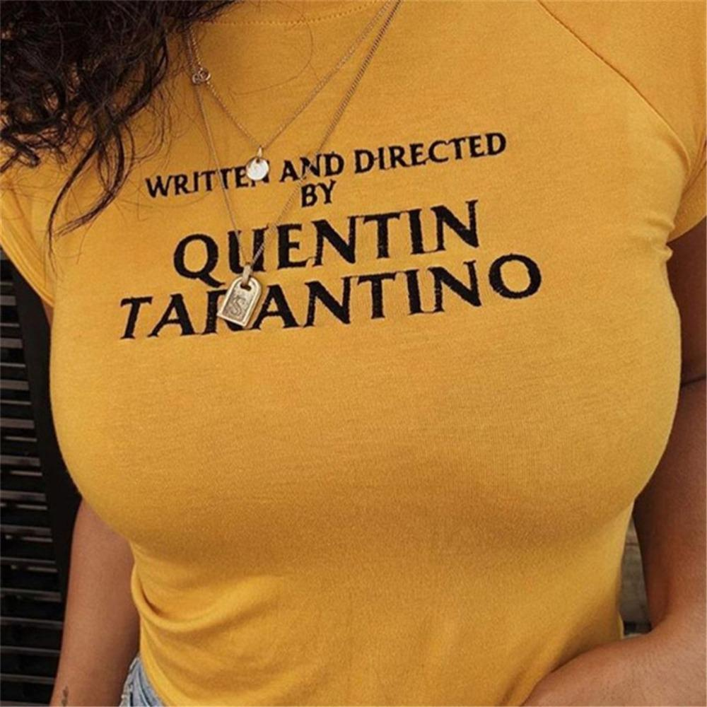 2018 Fashion Quentin Tarantino Sexy Crop Tops Women Side Stripe short Sleeve Cotton yellow goth art slogan 90s tees tshirt