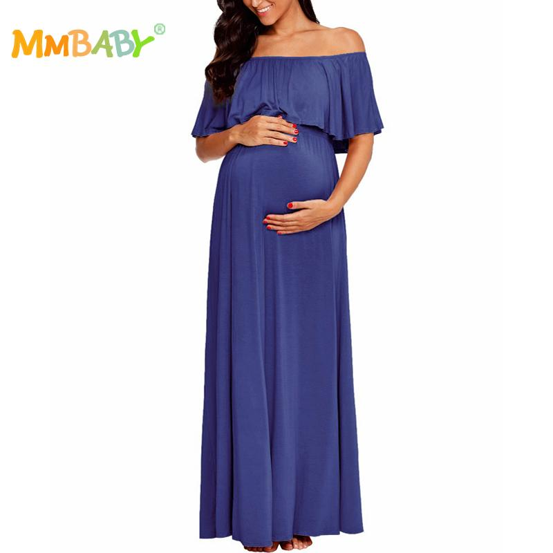 f09d5eb0db 2019 MMBABY Maternity Nursing Nightgown Off The Shoulder Soft Dress  Pregnant Loose Comfort Stretchable Long Ankle Length Dresses 2018 From  Laurul