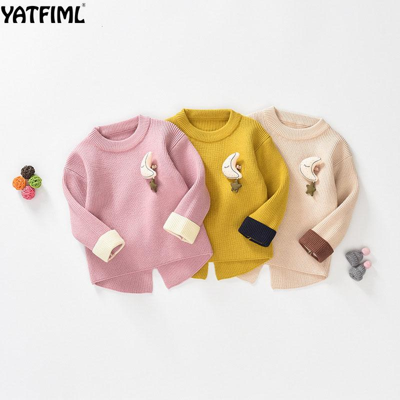 b9985476e YATFIML 2018 NEW CUTE AUTUMN WINTER baby girl sweater Moon decoration  Cardigan for girls Thick 0-5 Years old girl