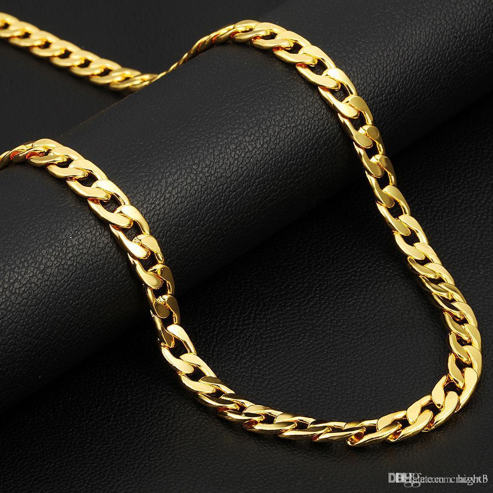 a9f54a62d552 Compre Cadena De Oro Larga De La Vendimia Para Los Hombres Collar De Cadena  Nueva Moda De Color Oro De Acero Inoxidable Grueso Bohemio Joyería Colar ...