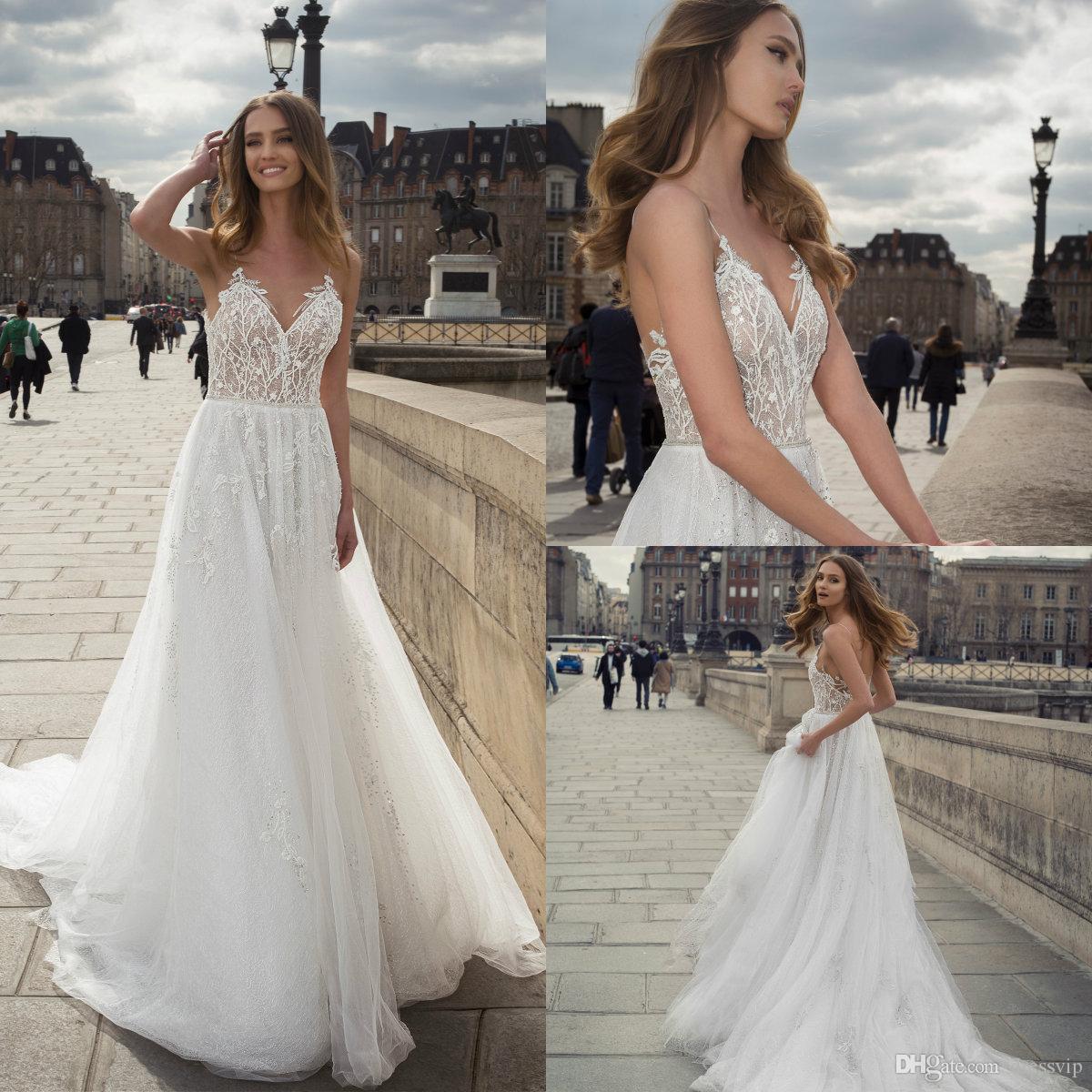 Discount 2019 New Berta Boho Wedding Dresses Spaghetti