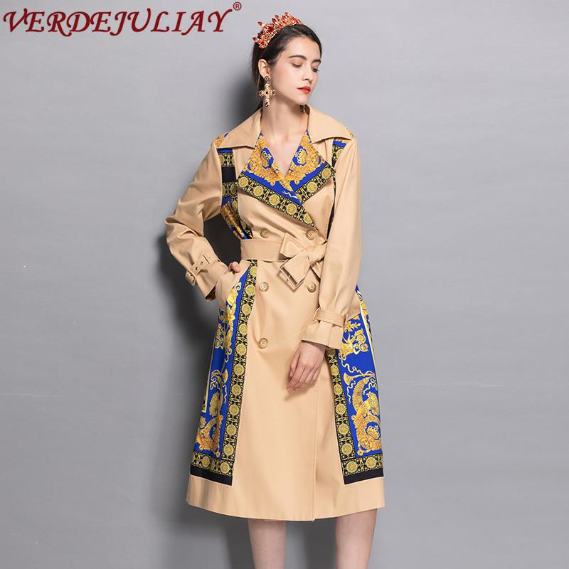 6ac1cc38f1 High Street Ladies Fashion Trench 2018 Early Autumn Print Patchwork Belt  Double Breasted Hot Sale Apricot Long Slim Coat Y18111301 UK 2019 From  Zhengrui04