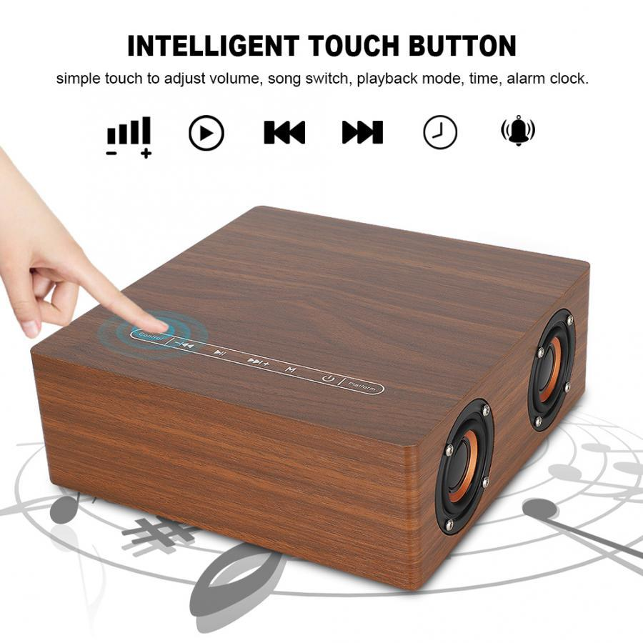 Q5C Clock Version Touch Wooden Bluetooth Speaker with 12W Horn Touch Control Button 3600mAh Battery Support TF Card USB Loudspeaker
