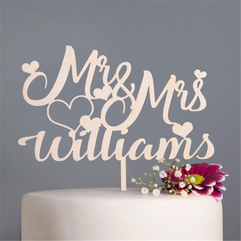 Personalised Wedding Cake Topper Mr Mrs Heart Custom Couple Name Cake Topper Wooden Rustic Wedding Decoration