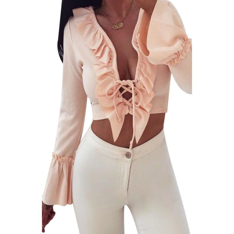 16f80a0e3d62e Sleeve Crop Top Lace Up Plunge V Neck 2019 New Fashion Women Long Tops T- Shirt Tee Sexy Clothes Online with  32.32 Piece on Bibei09 s Store