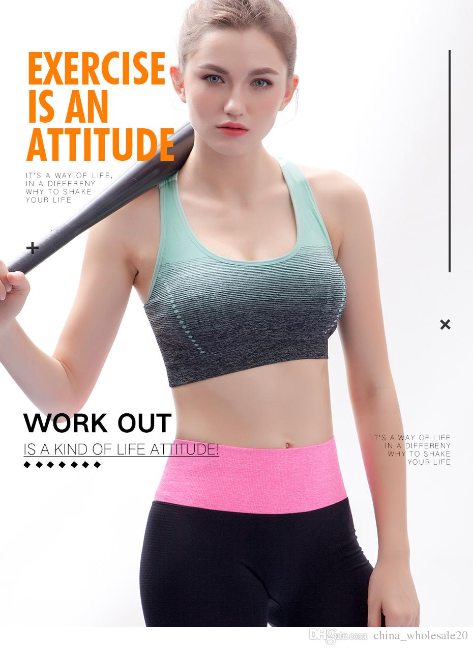 91f0ade30 2019 Sports Bra High Stretch Breathable Top Fitness Women Padded For  Running Yoga Gym Seamless Crop Bra Gradient Sport Bra From  China wholesale20