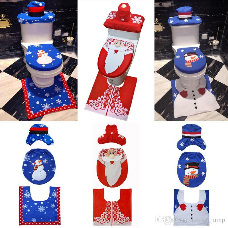 Hot Style Christmas Decoration New Christmas Toilet Set Christmas Snowman Toilet Seat Cover 3 Pieces Keep Warm Cover Santa Carpet