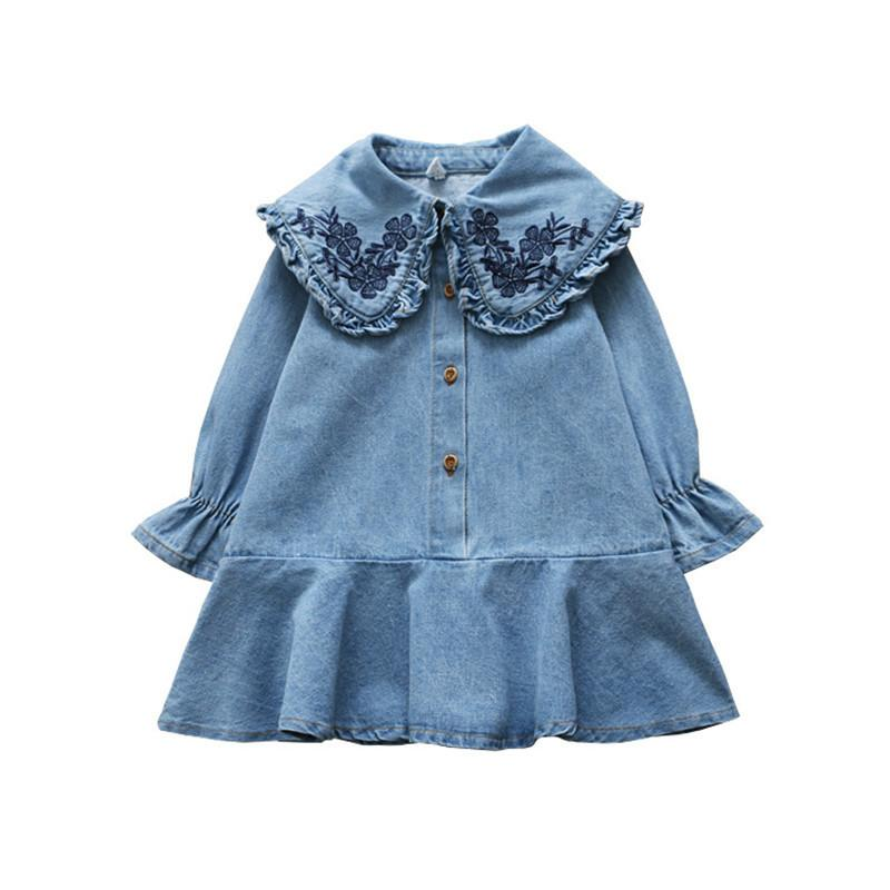 0-6 years High quality girl dress 2019 spring new fashion full sleeves embroidery de kid children clothing princess dress
