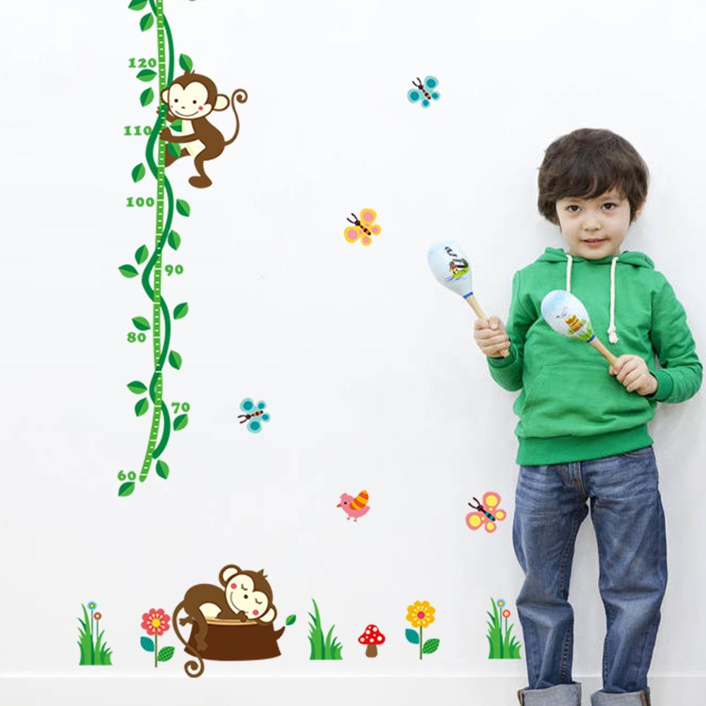 cute monkey tree rattan height measure wall stickers for kids rooms home decor cartoon animal growth chart wall decals pvc mural