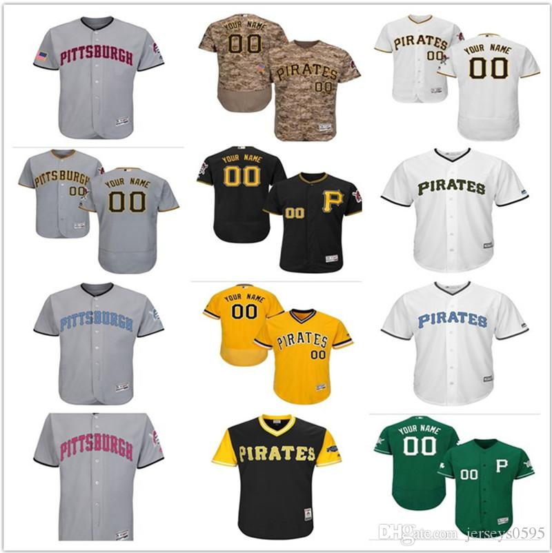 d5226adec0c custom Men s women youth Majestic Pittsburgh Pirates Jersey Any Your name  and your number Home Blue Grey White Kids Girls Baseball Jerseys