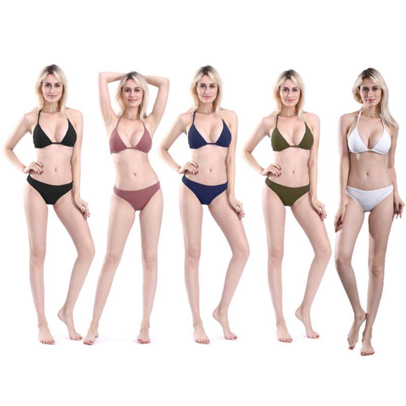 30df56d04401b 2019 Women Sexy Two Piece Bikini Set Halter Lace Up Deep V Neck Triangle  Bra Low Waist G String Thread Vertical Stripes Solid Color S From Felix06,  ...