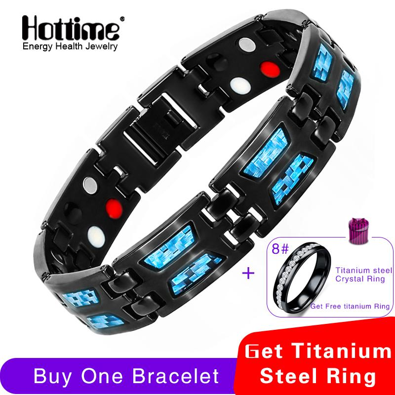 Hottime Double Row 4 In 1 Bio Elements Energy Bracelet Blue Carbon Fiber Magnetic Titanium Bangles & Bracelets Gift For Man Y19051002