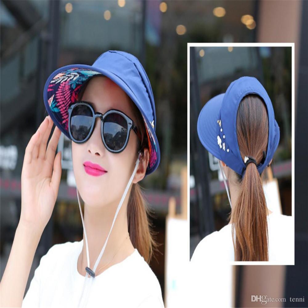 Women Ladies Summer Outdoor Anti UV Beach Sunscreen Sun Hat Flower Print Caps  Bucket Hats For Women Kentucky Derby Hat From Tenni 4a7cc54baf05